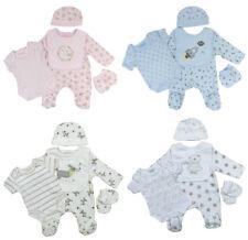 Baby Sleepsuit Vest Hat Bib Scratch Mitts 5 Piece Gift Set Boys Girls Unisex