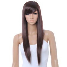 New Practical Cute Brown Long Straight Wig Kanekalon DARK BROWN Full Wigs P V0I5