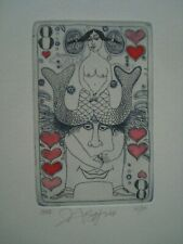 """Yuriy NOZDRIN -- ORIGINAL HAND-COLORED ETCHING --  """"The 8 of Hearts"""" - Erotic"""