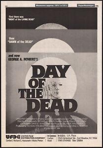 DAY OF THE DEAD__Orig. 1984 Trade print AD / poster__George A. Romero_Tom Savini
