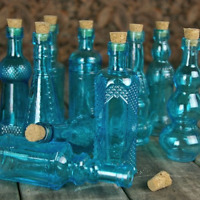 Vintage Glass Bottles with Corks, Bud Vases, Assorted Shapes, 5 Inch Tall, Set
