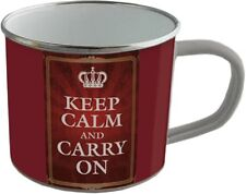 Emaille Becher - KEEP CALM AND CARRY ON -  BB06 emaillierte Tasse