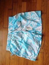 short de bain Kiwi Neuf Taille 46 Fond Blanc motifs Fleurs Turquoise