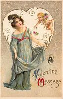 Valentine Postcard Cupid Cherub Bringing Flowers to a Young Girl~110172