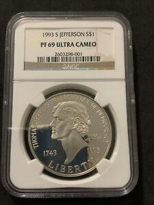 1993 S Jefferson NGC PR69 Ultra Cameo Silver Dollar Commemorative Coin
