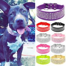 "2"" Wide Leather Rhinestone Large Dog Collars Diamonds Bulldog Labrador Mastiff"