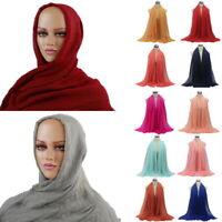 Ladies Premium Viscose Maxi Crinkle Cloud Hijab Scarf Shawl Soft Islam Muslim #