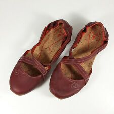 Ahnu Womens Comfort Shoes Sz 7M Red Leather Mary Jane Flats