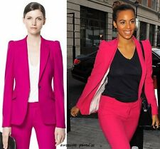 ZARA WOMAN PINK FUCHSIA BLAZER JACKET COAT PUFFED SHOULDERS SMALL - S