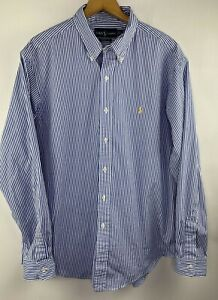 Ralph Lauren Classic Fit Blue Striped Button Down Shirt with Yellow Pony Mens XL