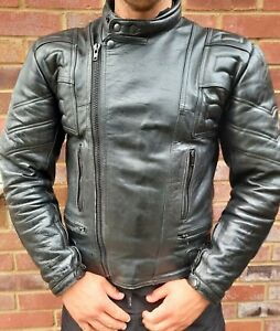 Men's Retro Motorcyle Ace Genuine Leather Jacket  Biker Black Size Large
