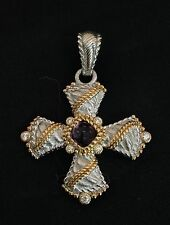 Judith Ripka Sterling Silver Gold Amethyst Maltese Cross Enhancer Necklace
