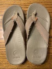 New Crocs Santa Cruz flip flops; Junior 5/Men 5/Women 7; khaki/orange stitching