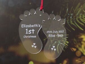 Personalised new baby first 1st Christmas Tree decoration