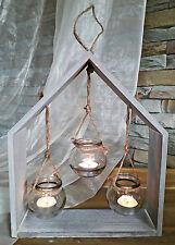 ❀ Haus 35cm Holz Grau + 3 Teelichtgläser hängend Hängeleuchter Glashänger #K