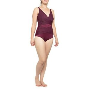 NWT New MIRACLESUIT Megan CrossOver CrissCross One Piece Swimsuit Burgundy 18