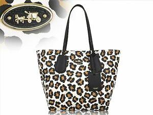Coach 33851 Ocelot Leopard Calfskin Leather Tote
