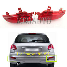 Pair For Peugeot 206 207 Rear Bumper Reflector Light Tail Fog Lamp Without Bulbs