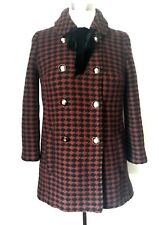 NEW TOPSHOP WOOL BOW CHECK COAT JACKET MILITARY BUTTONS UK 6