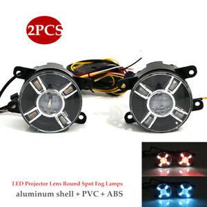 1Pair Car LED Projector Lens Spot Fog Lamps Adjustable Light w/Turn Signal Kit