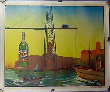 Affiche Ancienne  Lithographique PASTIS LA RINCE MARSEILLE vieux Port entoilée