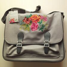 Primavera Satchel by Paperchase  - Beautifully Embroidered on Grey Fabric - NEW