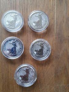 5 X 2021 1oz .999 Silver Britannia coins.  in capsules,