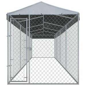"""vidaXL Outdoor Large Dog Kennel with Roof 299""""x75.6""""x88.6"""" Galvanised Steel"""