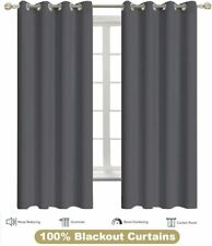 Blackout Curtain Dark Grey Window Grommet Thermal Insulated Set Of 2 Panels