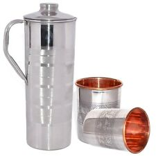 Pure Indian Handmade Drink Ware Copper Stainless Steel Jug With 2 Tumblers Cups