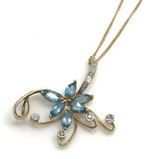 Swiss blue topaz 9ct gold diamond pendant necklace, flower, new, actual one. UK.