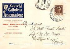 2189) VERONA, SOCIETA' CATTOLICA DI ASSICURAZIONE. VIAGGIATA.
