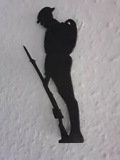 "3x Silhouette War Memorial British Army Tommy Soldier Figure Wall Mount 8"" tall."