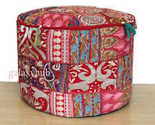"""22X22"""" Round Red Patchwork Pouf Ottoman Cover Floor Decorative Footstool Covers"""