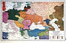 Vintage Antique Original 1920 Print Map Of Central Eastern Europe Nationalities