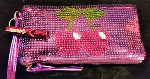 New* Womens Pacha purs️e 🍒purple sequin wrist strap bag☆100% Gen☆Clubbing bag