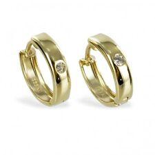 Klappcreolen Ohrringe Gold 333 1 Zirkonia Creolen 12 x 3mm 333 Echt Gold Schmuck