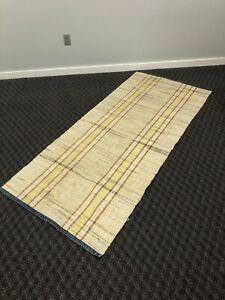 Vintage 7' FLOOR RUNNER RUG woven braided Amish folk art rag primitive handmade