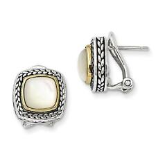 Ladies 925 Sterling Silver Polished w/14k Mother of Pearl Earrings 13mm x 13mm