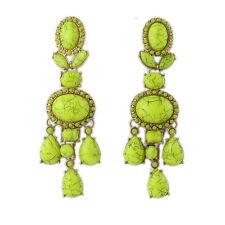 Boucles d`Oreilles Doré Chandelier Gros Long Vert Jaune Mini Perle Retro CC10