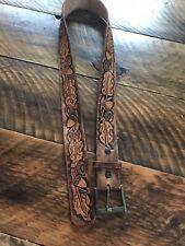 Vintage Tooled Leather Belt with Acorns and Oak Leaves Goldtone Buckle size 34