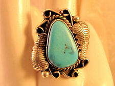 Old Pawn/Trading Post Southwestern Sterling Turquoise Feather Ring Size 6 1/4