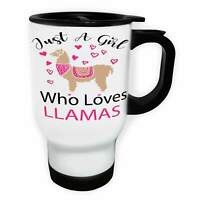 Just A Girl Who Loves Llamas Pink Hearts White/Steel Travel 14oz Mug ii135t