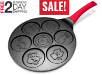 Non-stick Pancake Pan Griddle 10'' Mini Crepe Maker 7-Mold with Silicon Handle
