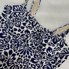 20W Lands End Plus Size Tankini Swim Top Deep Sea Blue Floral Print Soft Cups