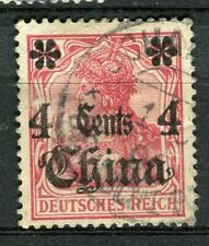 GERMAN COLONIES; CHINA early 1900s surcharged issue used 4c. value