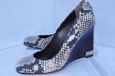 New Tory Burch Astoria Wedge Shoes Size 7.5 Pump Black White Leather