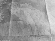 JUGENDSTIL Art Nouveau Damast Handtuch ° Nymphe am Teich mit Spruchband