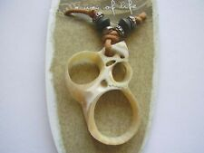 Earth & Surf cream sea shell slice pendant silver bead brown cord necklace