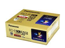 10 Panasonic BluRay BD-R DL 50GB 4x Speed Blu-Ray Inkjet Printable Made in Japan